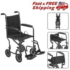 "Transport Chair Wheelchair Light Weight Drive Medical Aluminum Portable 17"" Seat"