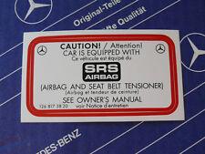 Genuine Mercedes sticker SRS Airbag for W126, W124