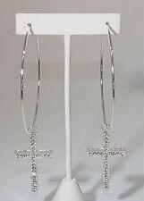 eli k Silver Plate & Crystals Medium Drop Cross Hoop Lever Earrings