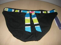 Jag New Womens Black Multi Tie Belt Bikini Bottoms Large Bathing Suit NWT