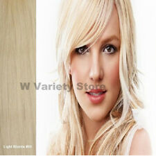 MEGA THICK DELUX FULL HEAD CLIP IN REMY HUMAN HAIR EXTENSIONS LIGHT BLONDE #60