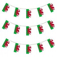 Wales Flag Bunting Welsh St Davids Dragon Rugby Football Flags 10 Metres Cymru