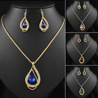Women Elegant Crystal Waterdrop Earrings Pendant Necklace Jewelry Set Fashion