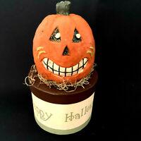 Happy Halloween Pumpkin Head Jack O Latern Paper Mache Box With Lid