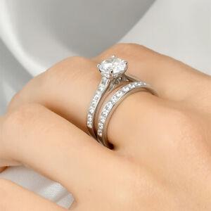 Womens Genuine 2.0 Carat Wedding Band Engagement Ring Set Bridal Silver Size 5-9