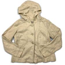 J Jill Beige 100% Hemp Long Sleeve Hooded Button Front Jacket Large L