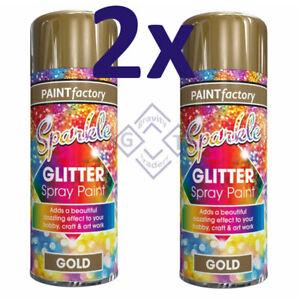 2x 200ml Paint Factory GLITTER EFFECT SPRAY PAINT GOLD CRAFT ART DECORATION Work