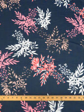 Navy Blue Floral-Print Chiffon with White, Pink, Salmon, Tan Floral Sprays