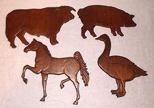 4 Vintage Carved Wood Trivet/Wall Plaque Bull/Steer/Horse/Goose/Pig/Hog