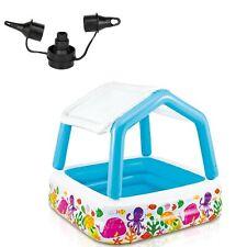 Intex 120V Electric Air Pump & Intex Inflatable Ocean Scene Sun Shade Kids Pool