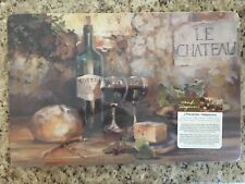 Marilyn Hageman Cork-backed Wipe Clean Placemats, Le Chateau, Set of 4 - New