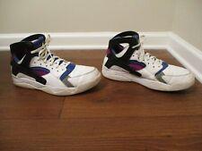 Used Worn Size 13 Nike Air Flight Huarache PRM QS Shoes White Black Blue Berry