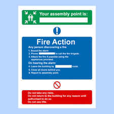 Fire Action Assembly Point Sign, Sticker -A4 210mmx300mm Premium Sign, Fire Exit