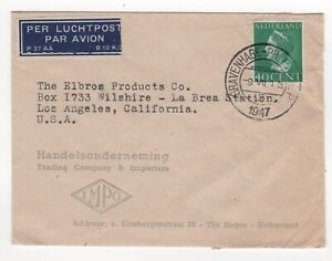 1947 NETHERLANDS Air Mail Cover THE HAGUE to LOS ANGELES CA USA
