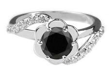 1.55 Carat Solid 14KT Real White Gold Solitaire Natural Black Diamond Ring