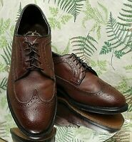 VTG EXECUTIVE IMPERIAL BROWN LEATHER WINGTIP OXFORDS DRESS SHOES MENS SZ 10.5 4E