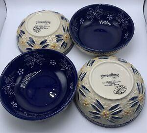 4 Temptations Old World Blue Basketweave Cereal Bowls 16 Oz