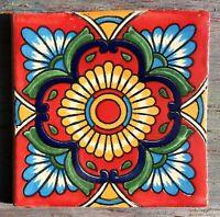 "10~Talavera Mexican pottery 4/"" tile classic Blue Peacock terra Cotta yellow gold"