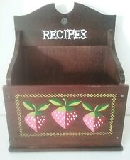 """Wood Recipe Box Strawberry Motif Hanging or Table Top for 3x5 Cards 7.5"""" Vintage"""