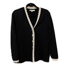 St. John Collection Sanatan Knit Black Jacket Sweater Size 12
