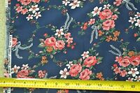"By-the-Half-Yard, 46"" Wide, Pink Floral Bouquets on Navy Cotton, Cranston, M3701"