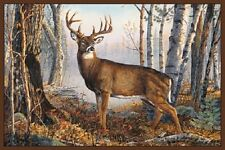 "Whitetail Area Rug 37"" x 52"" WIlderness Deer Woods Carpet Antlers Mountain Decor"