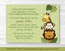 Jungle Animals Safari Friends Printable Baby Shower Invitation Editable PDF
