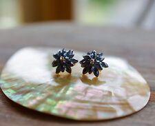 Blue Large fiore che sboccia Orecchini