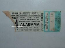 ALABAMA Concert Ticket Stub 1982 HULMAN CENTER ISU Very Rare TERRA HAUTE INDIANA