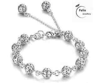 Hollow Ball Bracelet 925 Sterling Silver Charm Jewellery Womens Bangle Boho Gift