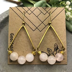 Rose Valley Dangles Pink Quartz Gemstone Brass Teardrop Geometric Boho Earrings