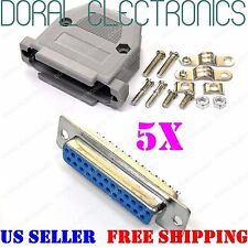 5x DB25 25-Pin Female Solder Cup Connector Plastic Hood Shell & Hardware DB-25