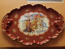 "Vintage Oriental Hand Painted Ceramic Oval Serving Tray ~ Geisha Design.15 1/2""L"