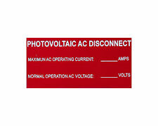 "Solar Label plastic placard 4x2"" engraved AC Disconnect"