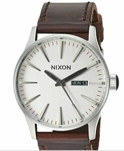 Nixon Sentry Leather Watch - Silver/Brown NEW