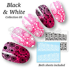 Peacock Nail Decals Water Stickers Black & White Eastern Art Pattern Nails B314