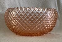 """Vintage Anchor Hocking Miss America Pink Depression Cupped Deep Bowl 8 ¾"""" Wide"""