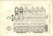 1921 Vickers petters Ipswich 450 BHP Marine Motore Olio diagramma
