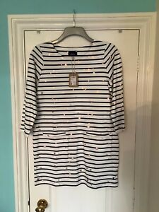 Joules, navy and white striped tunic with rose gold stars. Size 12. Two pockets