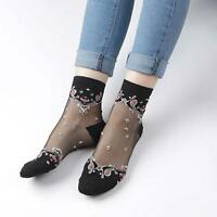 Ladies Transparent Thin Roses Flower Lace Socks Crystal Glass Silk Short Socks