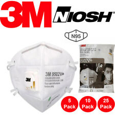 3M 9502V+ N95 Protective Disposable Face Mask Cover NIOSH Respirator 25 PCS KN95