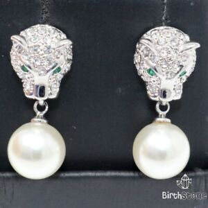 Unique Large Akoya Pearl Panther Earrings Women Jewelry 14K White Gold Plated