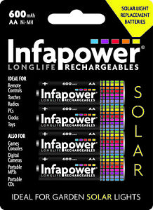 Infapower Rechargeable AA Ni-Mh Solar Light Batteries 1.2v 600mAh 1 x packs of 4