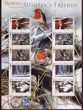Isla De Man 2004 Invierno Amigos-Robins Hoja de Menta desmontado en miniatura