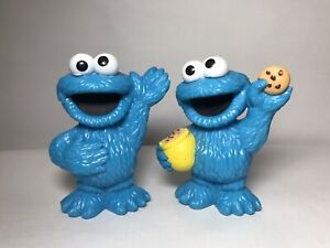 Sesame Street Workshop Cookie Monster PVC Figure Lot Of 2 (2010, Hasbro)