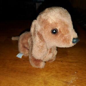 """VINTAGE 1978 R. DAKIN 8"""" Plush Brown PUPPY DACHSHUND WEINER DOG"""