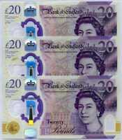 GREAT BRITAIN ENGLAND 20 POUNDS 2020 P NEW POLYMER UNC LOT 3 PCS