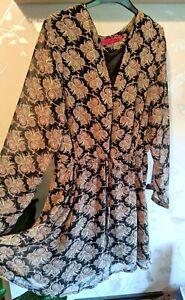 BOOHOO Paisley Print Tie Waist Tunic Top Dress 16
