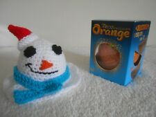 TERRYS CHOCOLATE ORANGE COVER x 1 Melting Snowman Blue Scarf Hand Knit Novelty