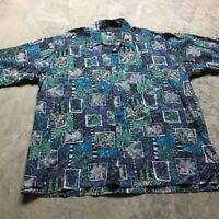 90s VTG RISCATTO VAPORWAVE All Over CRAZY Print XL Abstract Funky Tropical Fish